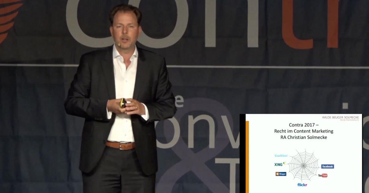Rechtsanwalt Christian Solmecke zum Thema Recht im Content Marketing